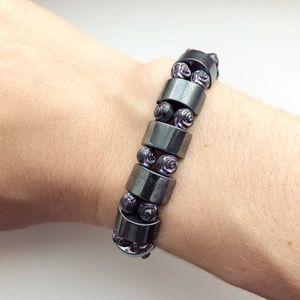 Edgy monochrome & purple roses stretch bracelet
